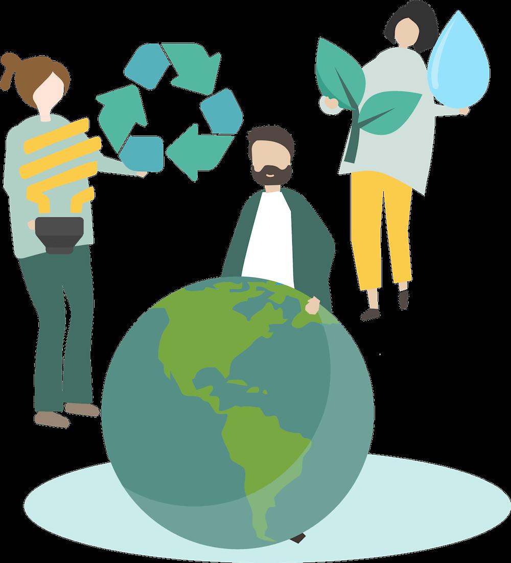 image vectorielle pour les énergies renouvelables avec une femme qui tient une ampoule et le logo de recyclage une autre femme qui tient une branche à deux feuilles et une goutte d'eau et d'un homme qui tient la terre